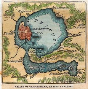 Lac Texcoco par Cortez XVIème siècle